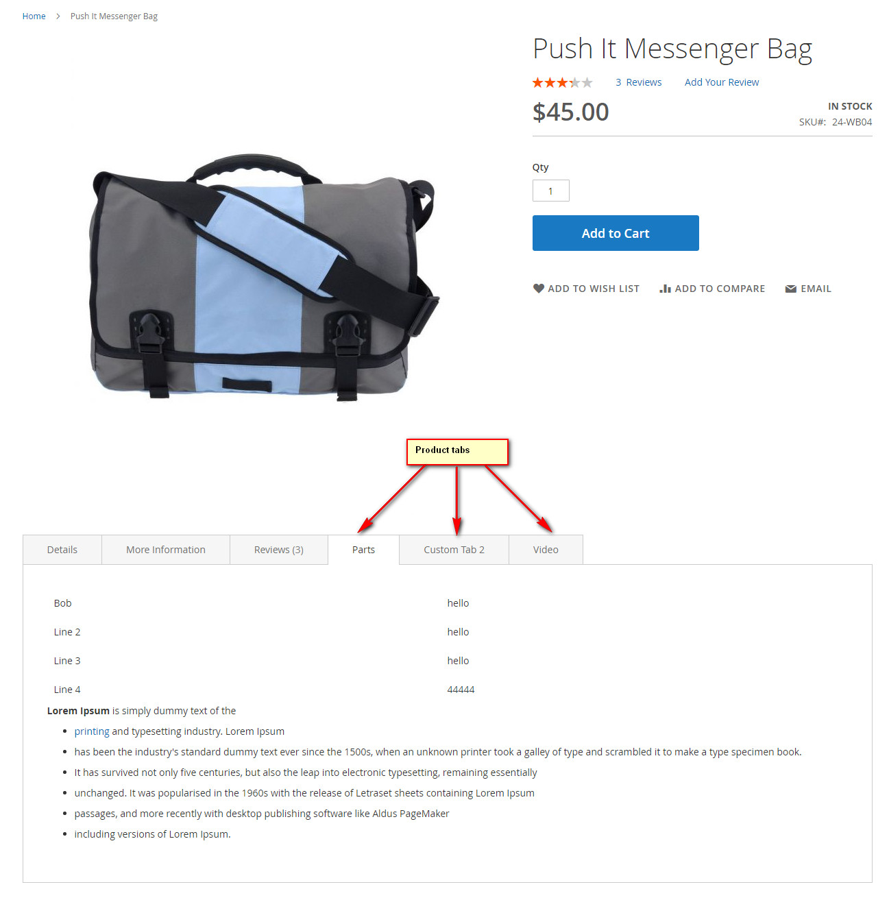 Product Tabs Magento 2 Extension